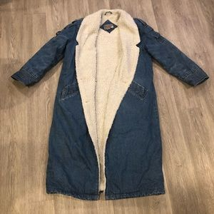 Vintage Faux Sherpa Lined Calf Length Jean Jacket